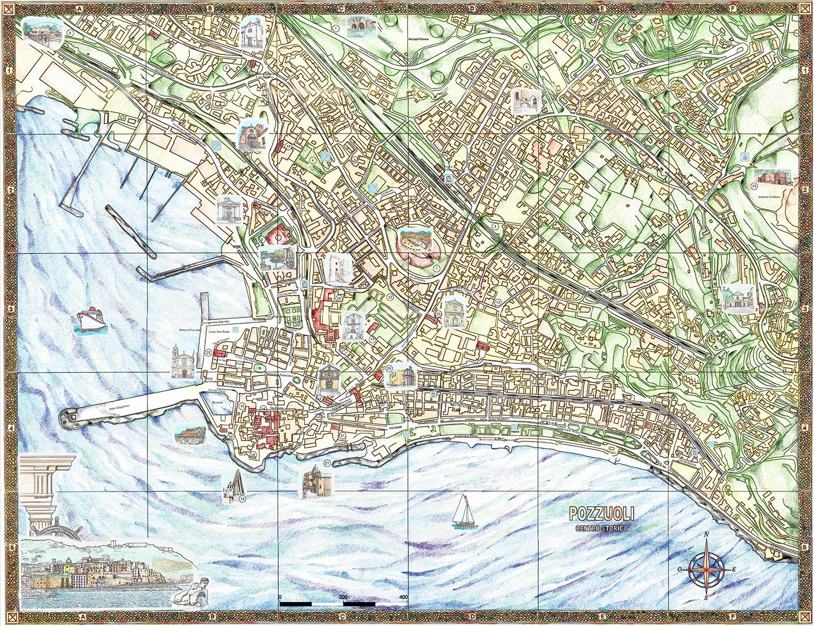 Cartina 1400.Mappa Di Pozzuoli Centro Storico